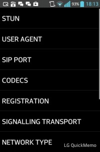 VoIP SIP SDK for Android - Sample Settings
